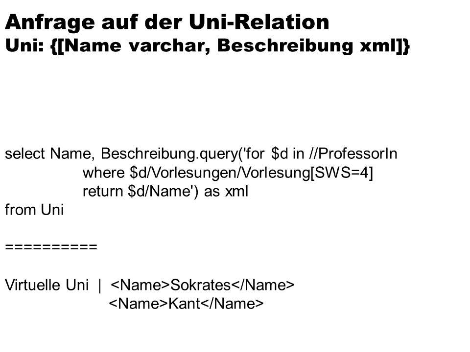 Anfrage auf der Uni-Relation Uni: {[Name varchar, Beschreibung xml]}